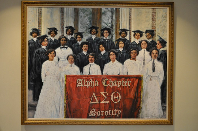 Photo of the Founders painting in the lobby of Delta Sigma Theta's headquarters.